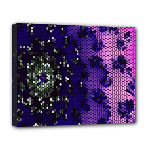 Blue Digital Fractal Deluxe Canvas 20  X 16   by Amaryn4rt
