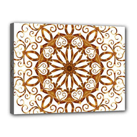 Golden Filigree Flake On White Canvas 16  X 12  by Amaryn4rt