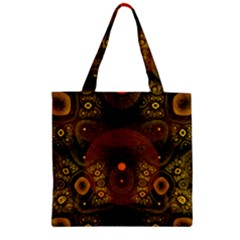 Fractal Yellow Design On Black Zipper Grocery Tote Bag by Amaryn4rt
