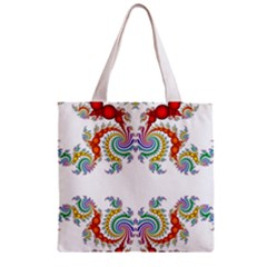 Fractal Kaleidoscope Of A Dragon Head Zipper Grocery Tote Bag by Amaryn4rt