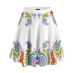 Fractal Kaleidoscope Of A Dragon Head High Waist Skirt by Amaryn4rt