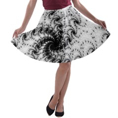 Fractal Black Spiral On White A Line Skater Skirt by Amaryn4rt