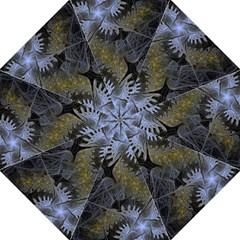 Fractal Wallpaper With Blue Flowers Hook Handle Umbrellas (Large)