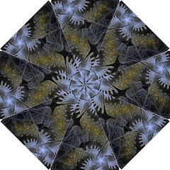 Fractal Wallpaper With Blue Flowers Hook Handle Umbrellas (small) by Amaryn4rt