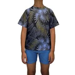 Fractal Wallpaper With Blue Flowers Kids  Short Sleeve Swimwear