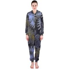 Fractal Wallpaper With Blue Flowers Hooded Jumpsuit (Ladies)