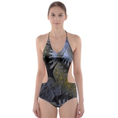 Fractal Wallpaper With Blue Flowers Cut-Out One Piece Swimsuit