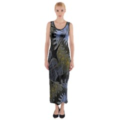 Fractal Wallpaper With Blue Flowers Fitted Maxi Dress