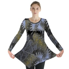 Fractal Wallpaper With Blue Flowers Long Sleeve Tunic
