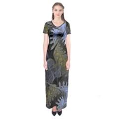 Fractal Wallpaper With Blue Flowers Short Sleeve Maxi Dress