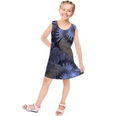 Fractal Wallpaper With Blue Flowers Kids  Tunic Dress
