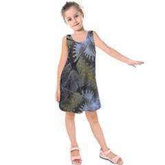 Fractal Wallpaper With Blue Flowers Kids  Sleeveless Dress
