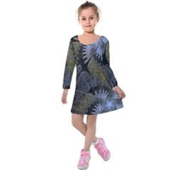 Fractal Wallpaper With Blue Flowers Kids  Long Sleeve Velvet Dress