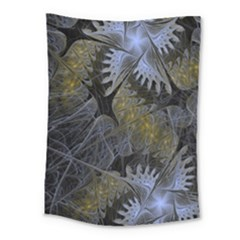 Fractal Wallpaper With Blue Flowers Medium Tapestry