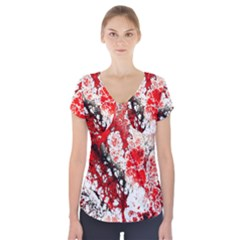 Red Fractal Art Short Sleeve Front Detail Top by Amaryn4rt