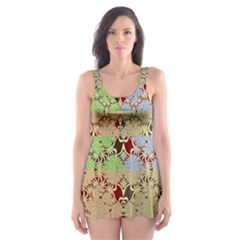 Multicolor Fractal Background Skater Dress Swimsuit