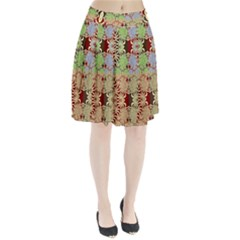 Multicolor Fractal Background Pleated Skirt