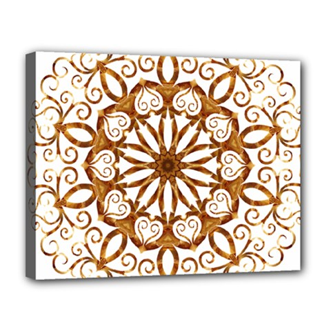 Golden Filigree Flake On White Canvas 14  X 11  by Amaryn4rt