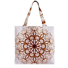 Golden Filigree Flake On White Grocery Tote Bag by Amaryn4rt