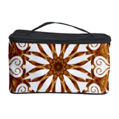Golden Filigree Flake On White Cosmetic Storage Case by Amaryn4rt