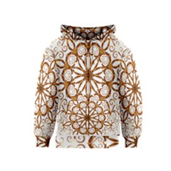 Golden Filigree Flake On White Kids  Zipper Hoodie