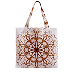 Golden Filigree Flake On White Zipper Grocery Tote Bag by Amaryn4rt