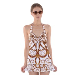 Golden Filigree Flake On White Halter Swimsuit Dress
