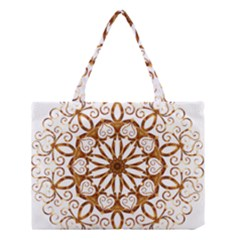 Golden Filigree Flake On White Medium Tote Bag by Amaryn4rt