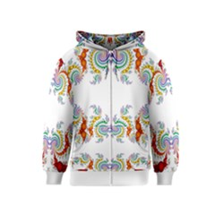 Fractal Kaleidoscope Of A Dragon Head Kids  Zipper Hoodie