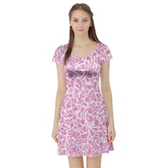 Pink Pattern Short Sleeve Skater Dress by Valentinaart
