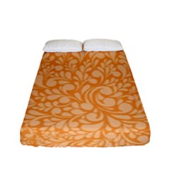 Orange Pattern Fitted Sheet (full/ Double Size) by Valentinaart