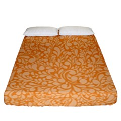 Orange Pattern Fitted Sheet (california King Size) by Valentinaart