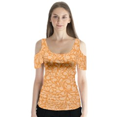 Orange Pattern Butterfly Sleeve Cutout Tee  by Valentinaart