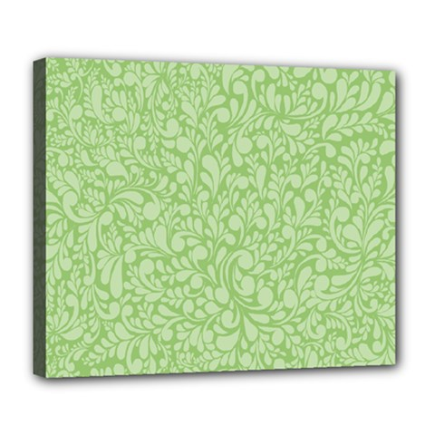 Green Pattern Deluxe Canvas 24  X 20   by Valentinaart