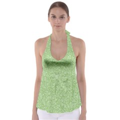 Green Pattern Babydoll Tankini Top by Valentinaart