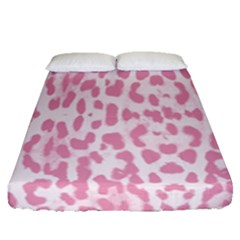 Leopard Pink Pattern Fitted Sheet (queen Size) by Valentinaart