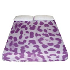 Purple Leopard Pattern Fitted Sheet (king Size) by Valentinaart