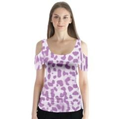 Purple Leopard Pattern Butterfly Sleeve Cutout Tee  by Valentinaart