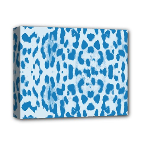 Blue Leopard Pattern Deluxe Canvas 14  X 11  by Valentinaart