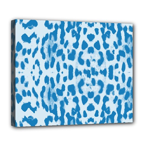 Blue Leopard Pattern Deluxe Canvas 24  X 20   by Valentinaart