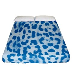 Blue Leopard Pattern Fitted Sheet (queen Size) by Valentinaart