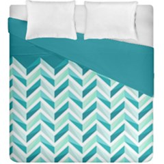Zigzag Pattern In Blue Tones Duvet Cover Double Side (king Size) by TastefulDesigns