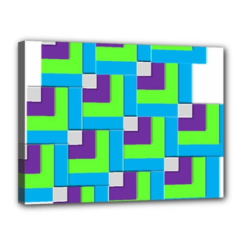 Geometric 3d Mosaic Bold Vibrant Canvas 16  X 12  by Amaryn4rt