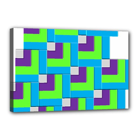 Geometric 3d Mosaic Bold Vibrant Canvas 18  X 12  by Amaryn4rt