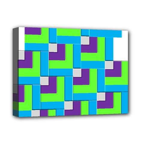 Geometric 3d Mosaic Bold Vibrant Deluxe Canvas 16  X 12   by Amaryn4rt