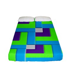 Geometric 3d Mosaic Bold Vibrant Fitted Sheet (full/ Double Size) by Amaryn4rt