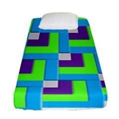 Geometric 3d Mosaic Bold Vibrant Fitted Sheet (single Size) by Amaryn4rt