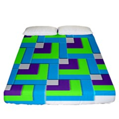 Geometric 3d Mosaic Bold Vibrant Fitted Sheet (california King Size) by Amaryn4rt