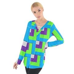 Geometric 3d Mosaic Bold Vibrant Women s Tie Up Tee by Amaryn4rt