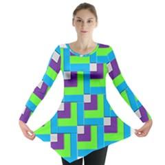 Geometric 3d Mosaic Bold Vibrant Long Sleeve Tunic